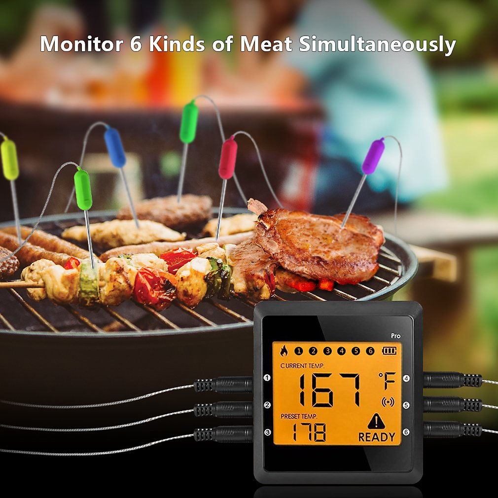 Digital Meat Thermometer for Grilling, ICOCO Best Instant Read Oven Meat Thermometer with 6 Probes Ultra Fast Easy Electronic BBQ and Kitchen Food Thermometer for Cooking, Smoking ,Candy