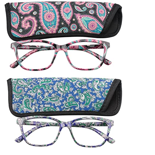 eb5709d5805 SOOLALA 2-Pair Designer 51mm Square Lens Spring Hinge Reading Glasses w  Matching Pouch