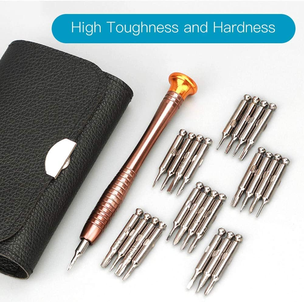 25 in 1 Screwdriver Set, Portable Multifunctional Opening Tools Screwdriver Set with Leather Case, Precision Mini Repair Tool Kits for PC, Glasses, iPhone, Laptop, Watch, Cameras, Toys - -