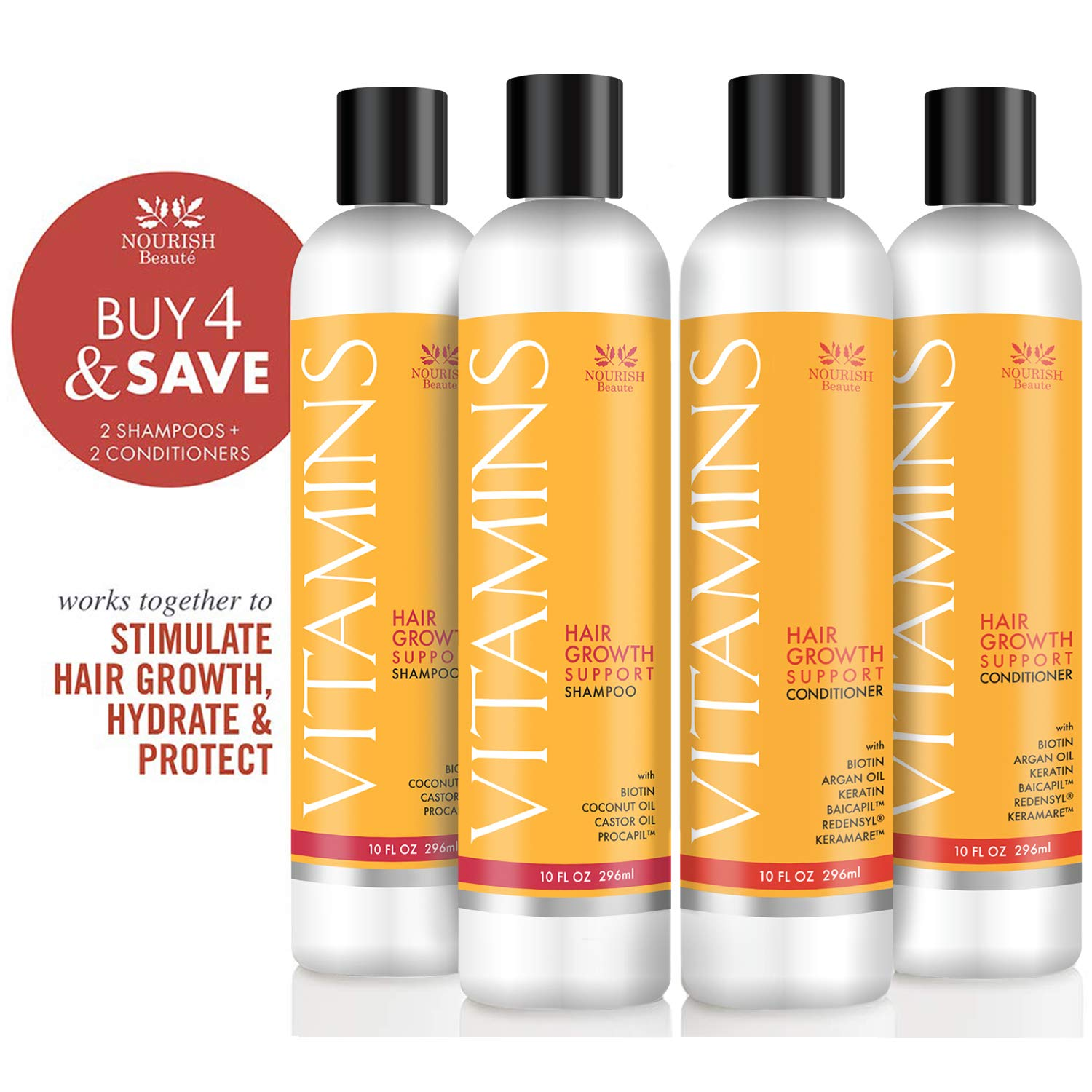 Nourish Beaute Vitamins Shampoo and Conditioner for Hair Loss that Promotes Hair Regrowth, For Men and Women, 2 10 Ounce Bottles of Shampoo and 2 10 Ounce Bottle of Conditioner