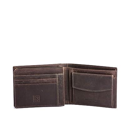 5c1afe8497 Portefeuille pour Homme avec Porte-Monnaie en Cuir Vieilli Vintage DUDU  Brun foncé: Amazon.fr: Bagages