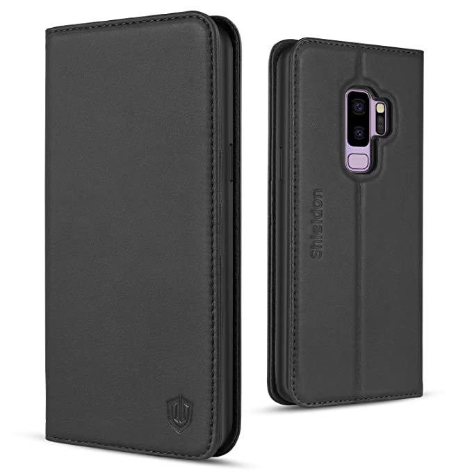 innovative design 85f73 25fed SHIELDON Galaxy S9 Plus Case, Galaxy S9 Plus Wallet Case, [Folio  Cover][Stand Feature] Genuine Leather Credit Card Holder Flip Case with  Magnetic ...