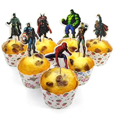 v39buy 28pcs Superhero Cupcake Toppers for Children Birthday Party Decoration Supplies Hight Quality Cardboard