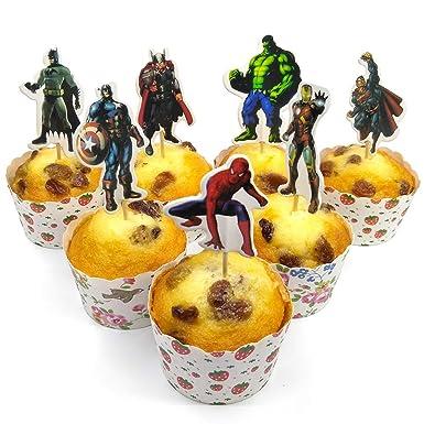 V39buy - Juego de 28 adornos para cupcakes de superhéroes ...
