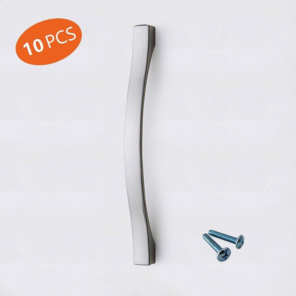 OHOME Maniglia del cabinet della maniglia del cassetto dellarmadio dellarmadietto della cucina del nichel della spazzola di alta qualit/à 10 Pack centri del foro di 96mm 109mm lunghi