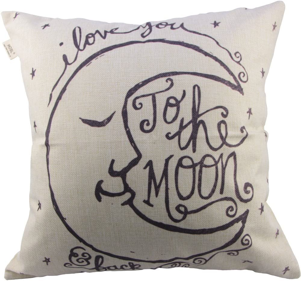 "HOSL Throw Pillow Cover Throw Pillow Case 18"" x 18"" (45 x 45cm) (I Love You to The Moon and Back)"