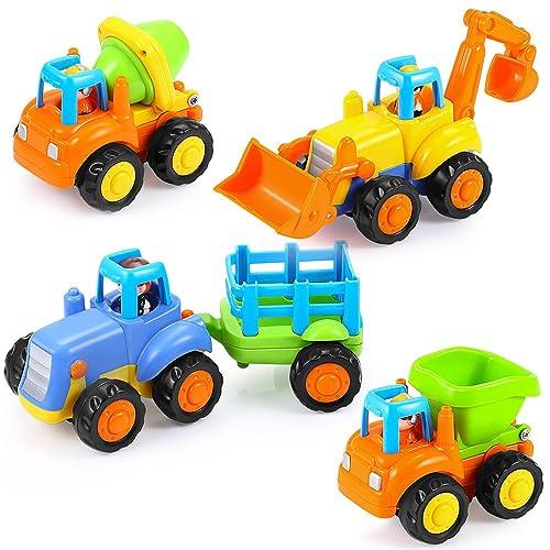 Hola Mini Jouet Voiture Push 4Pcs Véhicules de Construction Bébé 1-3 Ans Tracteurs Bulldozer Camion Mélangeur Dumper Construction Cadeau Anniversaire Fête