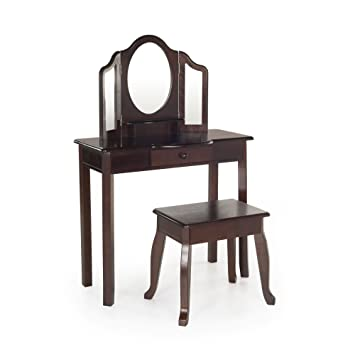 Guidecraft Classic Espresso   Dark Cherry Vanity Table And Stool Set With  Mirror And Make