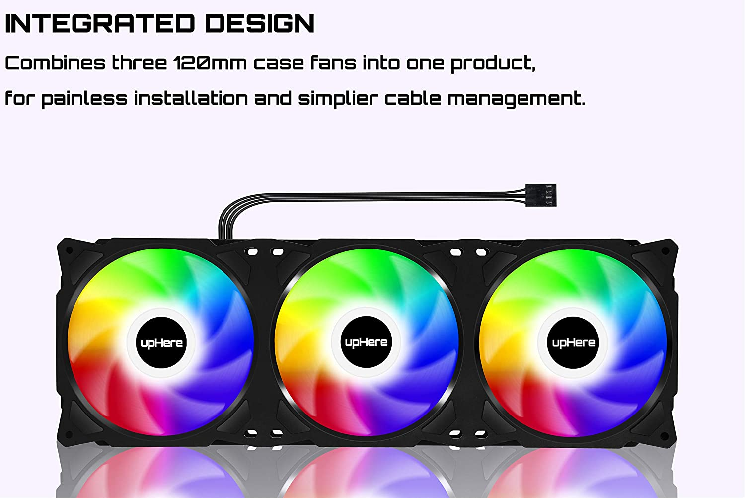 upHere PF360CF 360mm Quiet Edition High Airflow Colorful LED Computer Case Fan,Hydraulic Bearing,Cable Management and PWM Control Fan