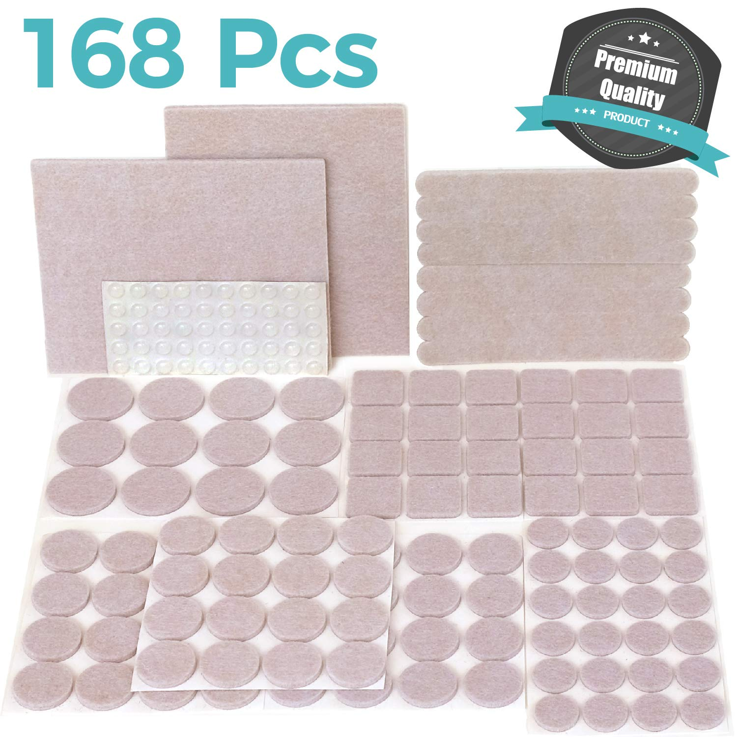 PREMIUM Furniture Pads Set 168 Pcs Value Pack Beige - Heavy Duty Adhesive Felt Pads for Furniture Feet, Assorted Sizes with Noise Dampening Clear Rubber Bumpers. Protect Hardwood & Laminate Flooring
