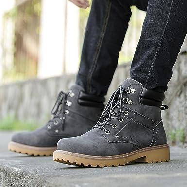 Los hombres Botas del tobillo otoño invierno Casual Martin Botas bajo recortar el tobillo plano Shoes By DoraMe (Gris, EU:42): Amazon.es: Iluminación