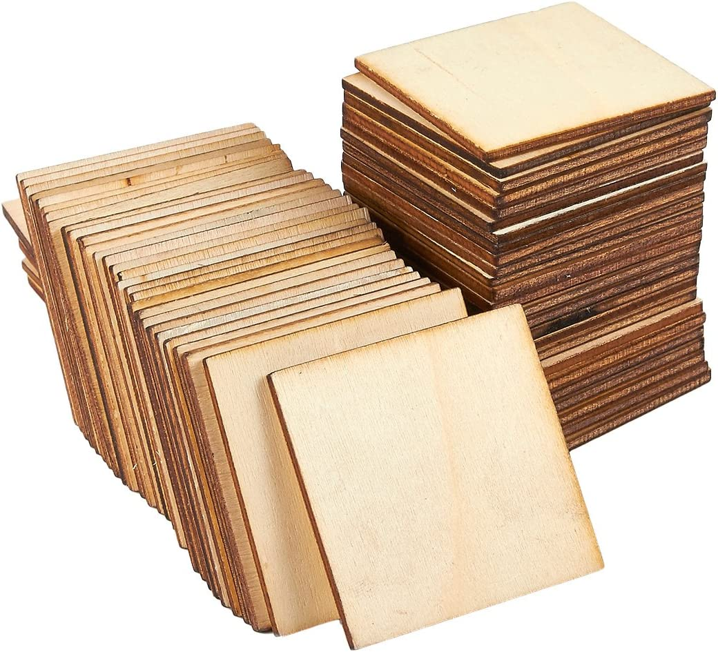 Juvale Wooden Cutouts for Crafts, Wood Squares (2 x 2 in, 60 Pieces)