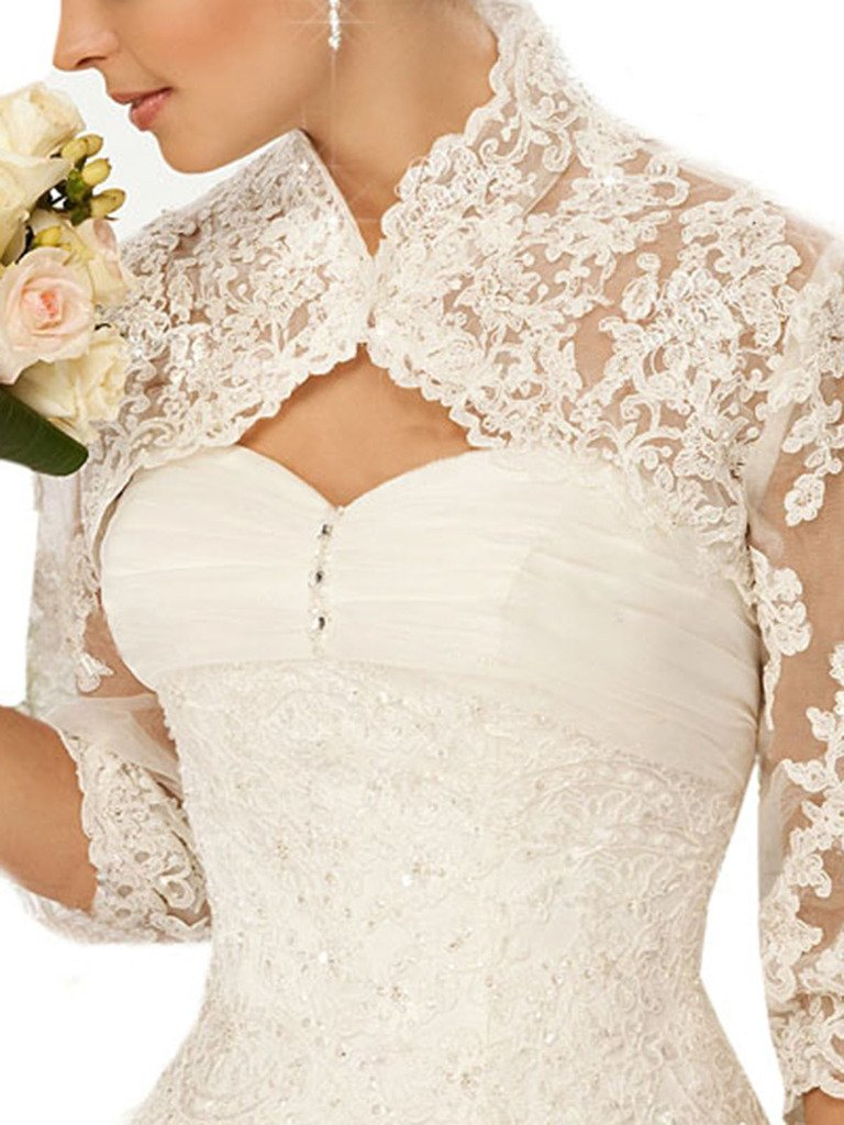 Snowskite Women's 3/4 Sleeves Lace Bridal Gown Wedding Jacket Ivory 22