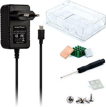 Aukru - Kit 3-en-1 para Raspberry Pi 3 Modelo B, Incluye una Caja Transparente, alimentación de 5 V - 3000 mA, y disipador térmico: Amazon.es: Electrónica