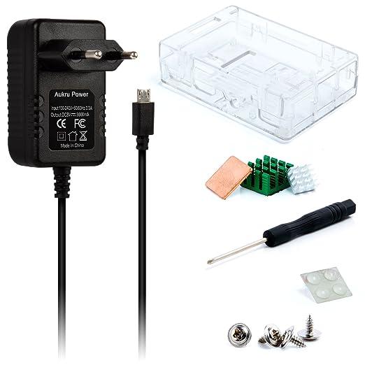 113 opinioni per Aukru- Raspberry Pi 3 Super Kit- Case Transparente + 5v 3000mA alimentatore + 3