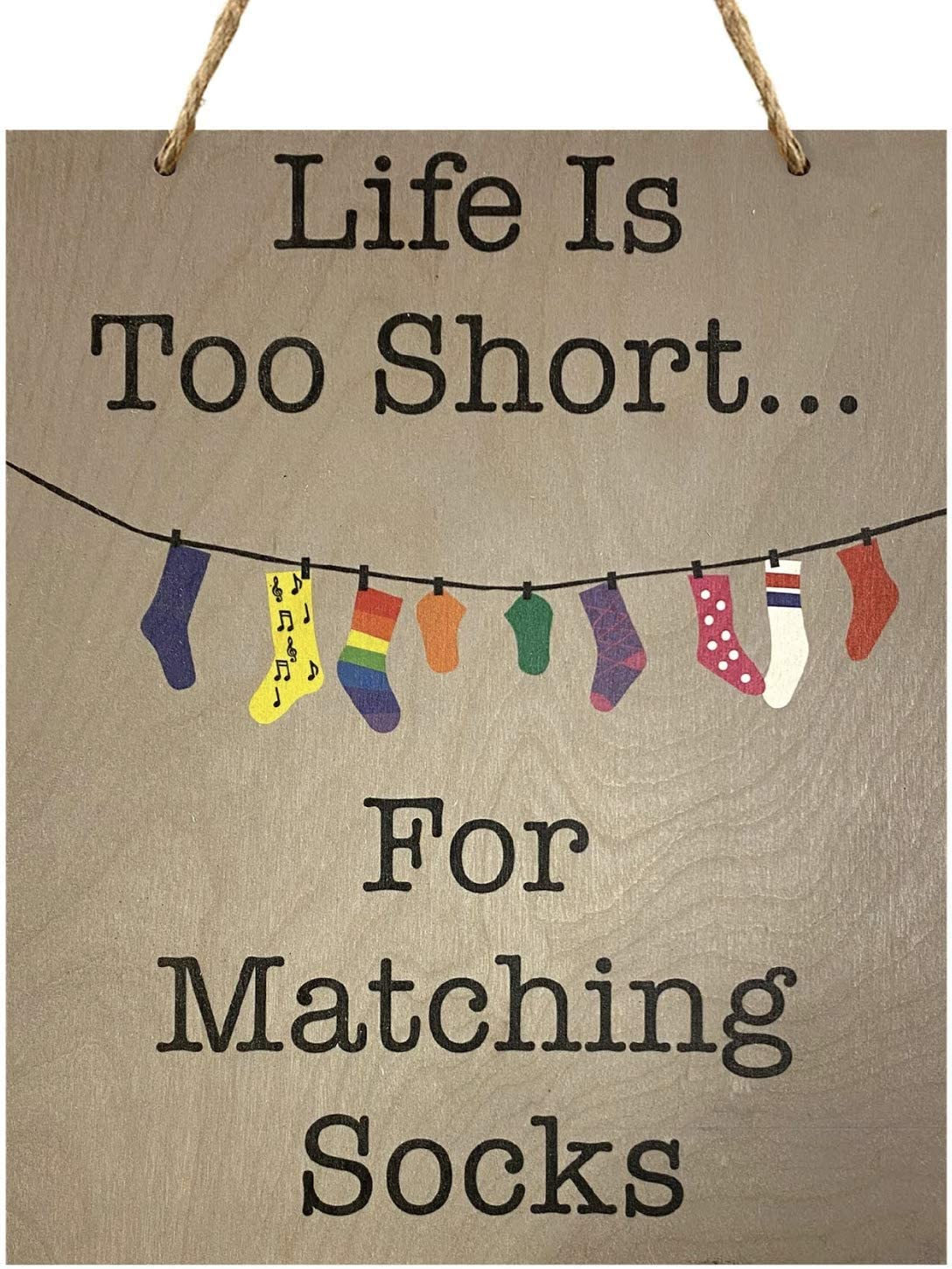 JennyGems Life is Too Short for Matching Socks | Laundry Room Decor | Wood Sign | Funny Laundry Room
