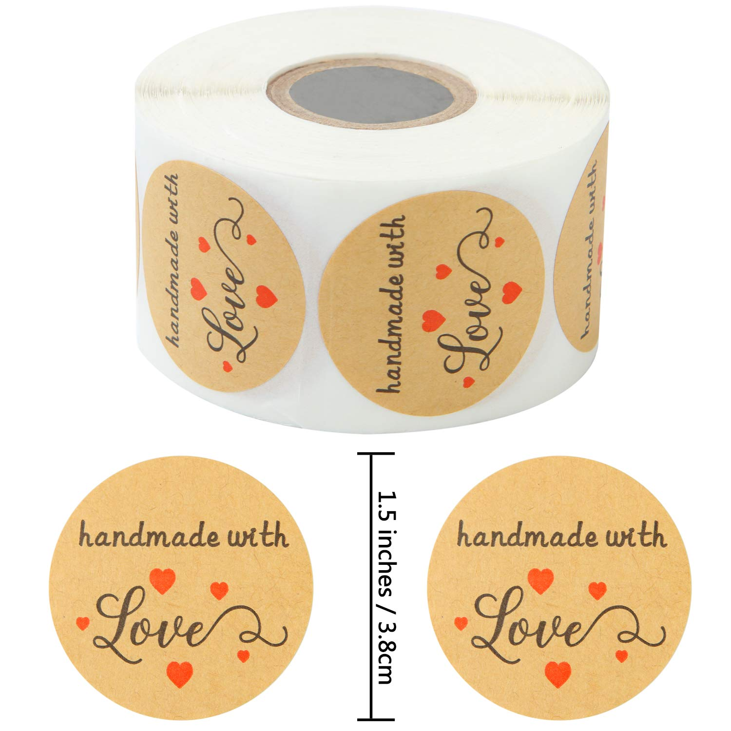 Crafts or DIY Projects 1.5 Inches Elcoho 600 Pieces Kraft Handmade with Love Stickers Round Handmade Adhesive Stickers Labels Roll for Gifts