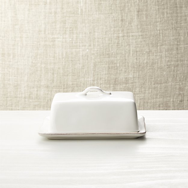 Marin White Covered Butter Dish | Crate and Barrel