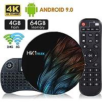 Android 9.0 TV Box【4G+64G】con Mini Teclado inalámbirco RK3328 Quad-Core 64bit Wi-Fi-Dual 5G/2.4G,BT 4.1, 4K*2K UHD H.265, HDMI, USB 3.0 Smart TV Box