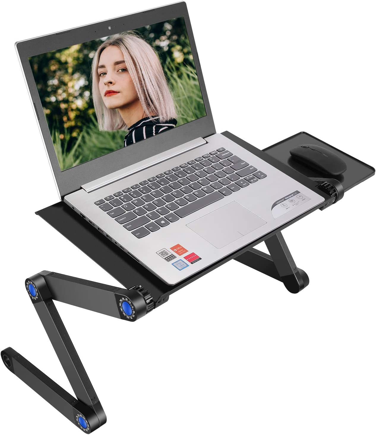 Neewer Portable Adjustable Laptop Stand/Desk/Table Vented with CPU Fans and Mouse Pad Side for Notebook MacBook Lightweight Aluminum Ergonomic Bed/Sofa/Couch Lap Tray, Standing/Sitting Use-Black