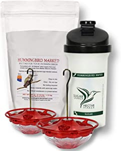 Hummingbird Feeder Starter Set with 2 Hummingbird Feeders, A 2.5 lb Bag of Hummingbird Nectar and A Sugar Shaker Bottle   Hummingbird Feeders for Outdoors are Gift Ideas That Keep On Giving