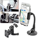 Cell Phone Car Mount Holder ITART iphone GPS Windshield and Air Vent Universal Phone Mount Cradle for Car Samsung (Black)