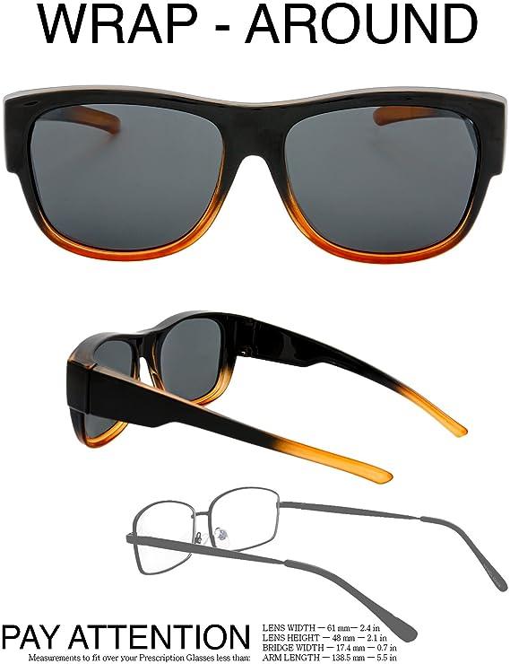 1c493cdf53a Amazon.com  The Fresh High Definition Polarized Wrap Around Sunglasses for Prescription  Glasses 66mm Gift Box (1-Shiny Black Brown