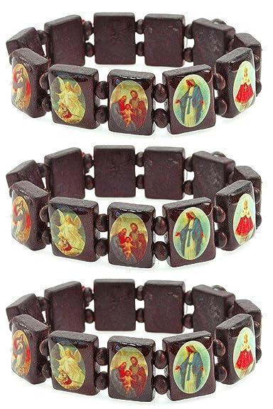 Amazon.com  PURPLE WHALE Religious Wood Bracelet Set of Three with ... 9f0b9b0db8