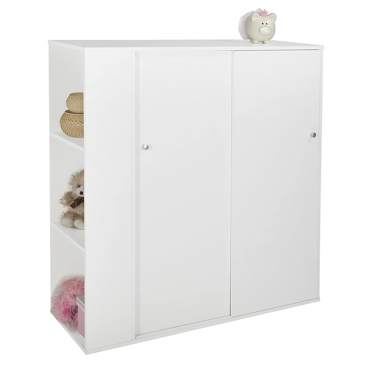 Amazon.com: South Shore Kids Storage Cabinet With Sliding Doors, Pure  White: Kitchen U0026 Dining