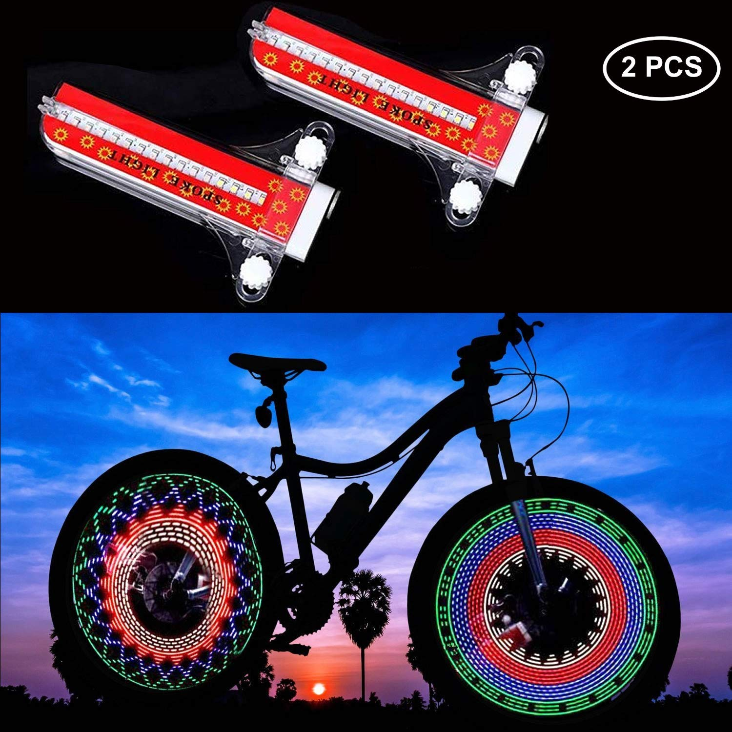 MIKIROY 2 PCS LED Bike Spoke Lights, Waterproof Bicycle Wheel Tire Light, 32-LED and 32 Changes Patterns, Ultra Bright, Visible from All Angles, Automatic & Manual Dual Switch by MIKIROY