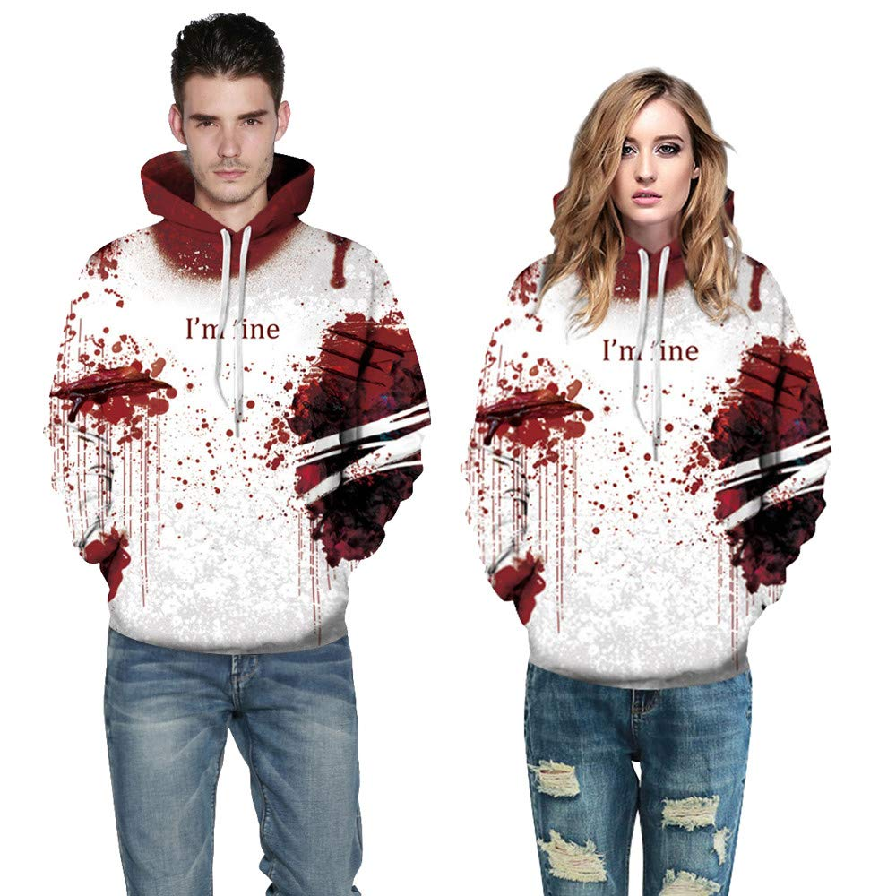 Halloween Women Men Ghost 3D Printing Long Sleeve Hoodie Sweatshirt Pullover Top By Farjing (L/XL,Red)