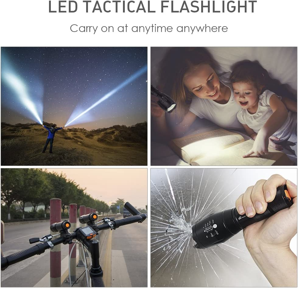 LED 3AAA Zoomable Flashlights Moobibear 800lm Ultra Bright Handheld 18650 Flashlight,Portable Outdoor Water Resistant Torch with Adjustable Focus and 5 Light Modes 2 Pack
