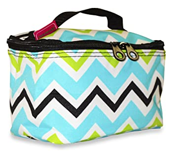 Amazon.com   Ever Moda Multi-color Chevron Makeup Bag (Green)   Beauty 5526b4c3cfa45