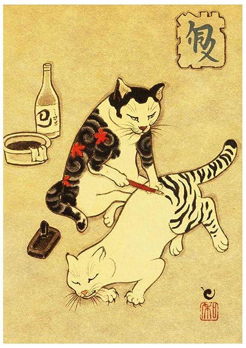 5D DIY Vintage Samurai Japonés Gato Diamante Pintura Tatuaje Gato ...