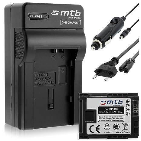 Batería + Cargador (Coche/Corriente) para Canon BP-808 ...