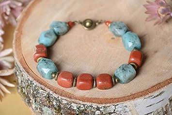 cf91df2ded0a Brasalete artesanal de jaspe bisuteria fina pulsera de piedras naturales   Amazon.es  Hogar