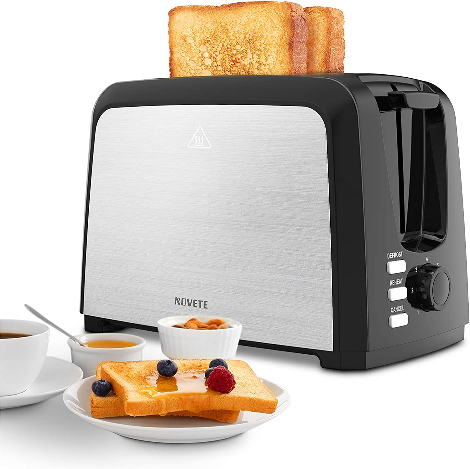 Toaster 2 Slice Best Rated Prime, NOVETE Wide Slot Toaster with 7 Bread Shade Settings & Removable Crumb Tray, UL Certified Quality, Compact Stainless Steel Toaster, Ideal Gift for Family & Friends, 750W