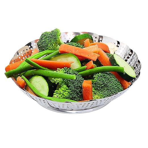 ETPARK Cesta Vaporera, Verduras Vaporera Cesta Plegable Acero Inoxidable Bandeja para Cocina al Vapor Apto para Diversos Tamaños de Ollas