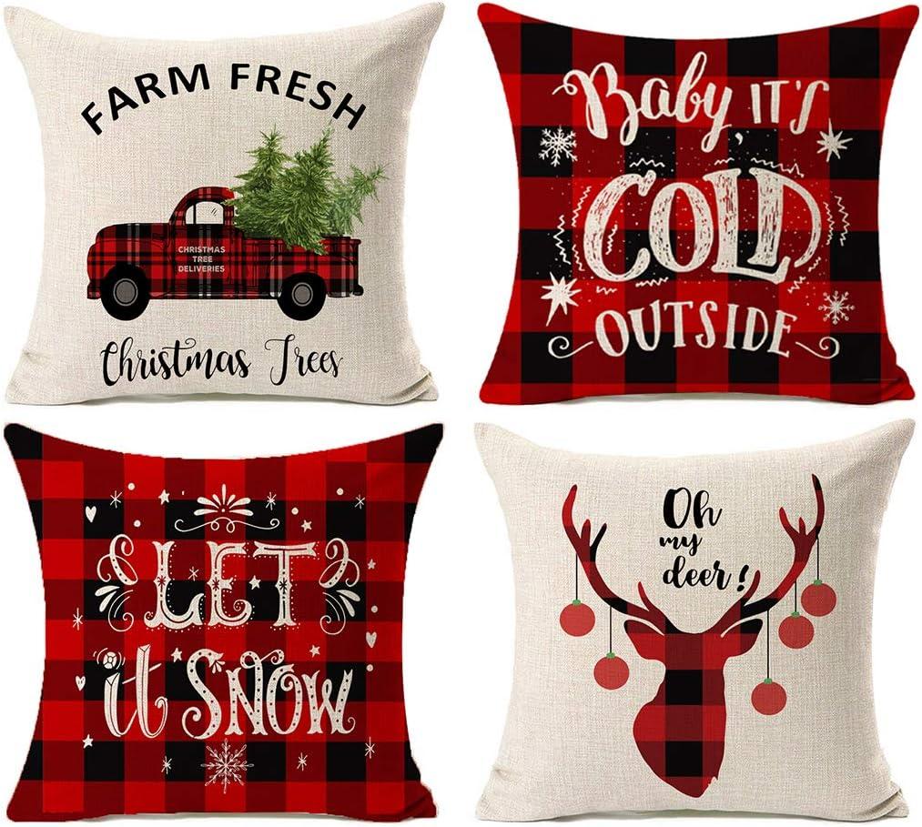 Kithomer Set of 4 Christmas Decorations Pillow Covers Christmas Buffalo Plaid Farmhouse Decor Throw Pillow Cases Retro Truck Cushion Cover 18 x 18 Inch Home Decoration