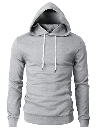 64393ef2 H2H Mens Basic Long Sleeve Slim Line Hoodie Sweatshirts Gray US 2XL/Asia 3XL  (