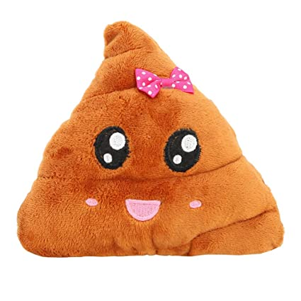 Fancyku Poop Emoji Smiley Emotion Round Cushion Pillow Stuffed Cute Plush Soft Toy Doll Poop Pillow (Style 1, S)