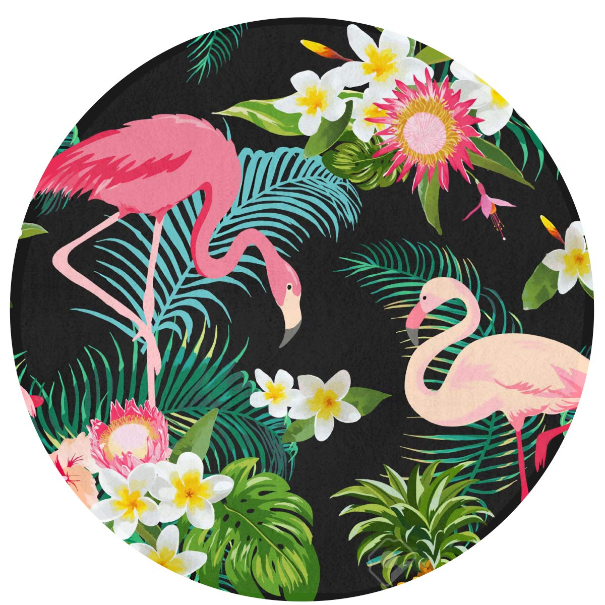 Tropical Jungle Flamingos Floral Comfortable Non-Slip Seat Cushion Circular Chair Cushions Round Mat Round Rug Cute Swivel Chair Mat Stool Cover Pad Round Bath Mat 15.75IN