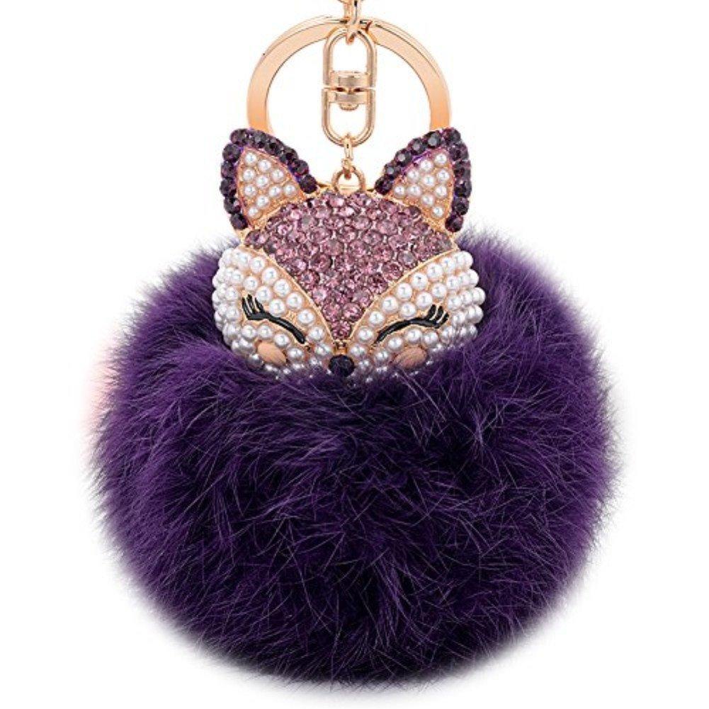 Zinsale Rhinestone Fox Fur Pom Pom Keychains Handbag Charm Car Pendant with Golden Keyring Black with Red Head