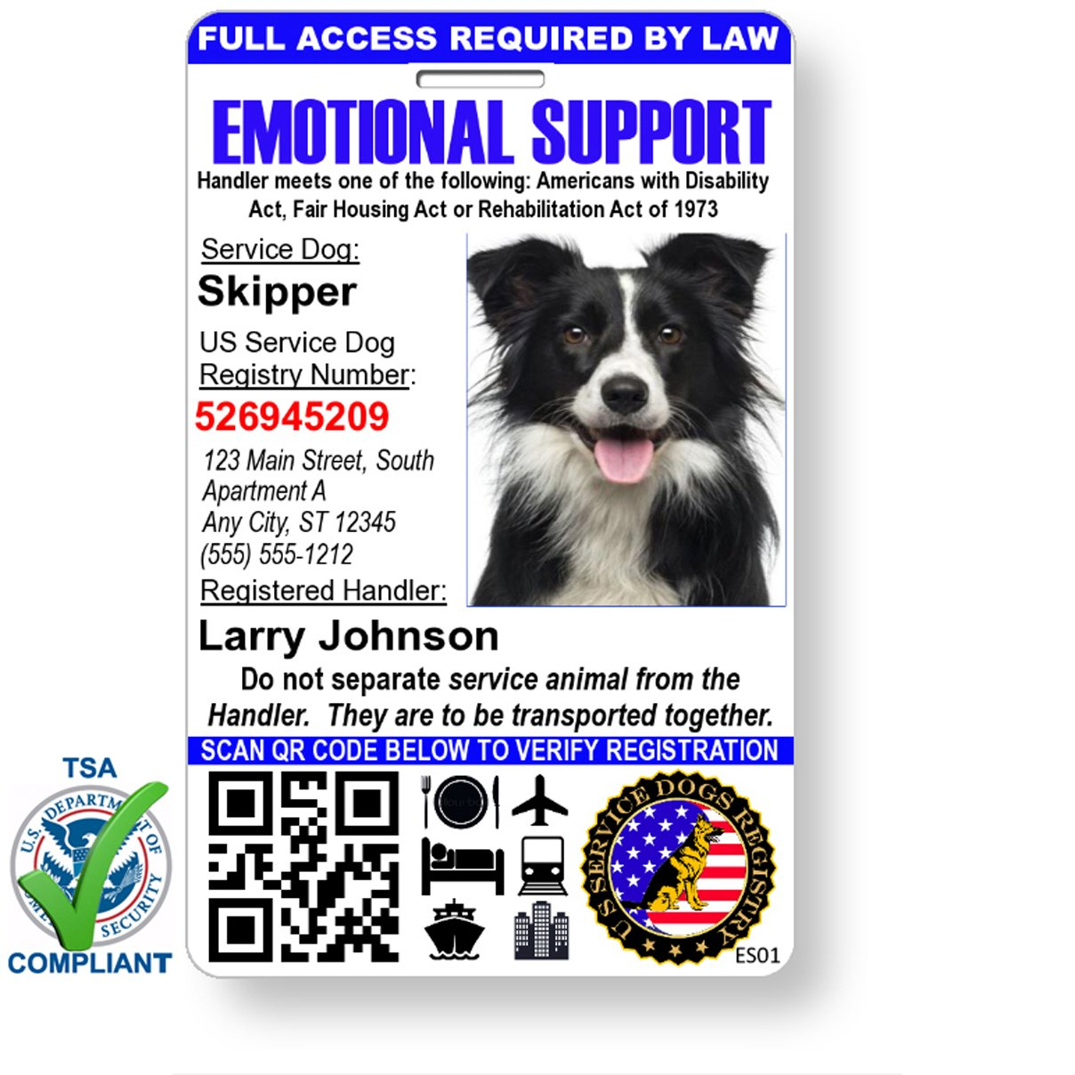 Just 4 Paws Custom Holographic QR Code Emotional Support Dog ID Card with Registration to Service Dogs Registry with Strap - Portrait Style