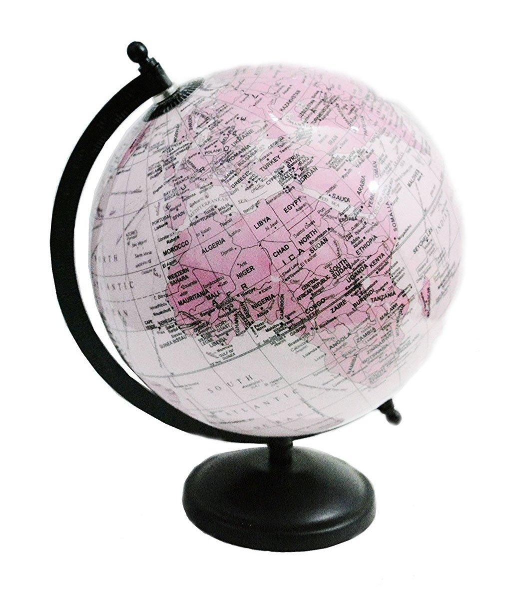 Decorativo desktop Table Decor rosa color ruotato World Globe mappa del mondo 27,9cm pollici con supporto da 'Mr. globo'
