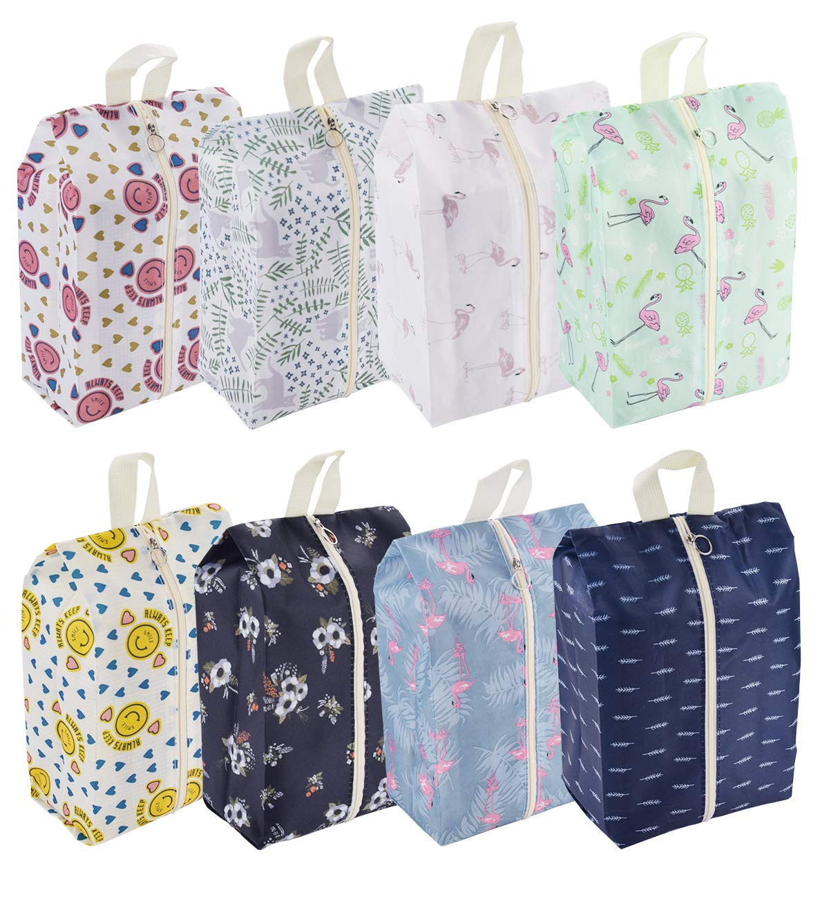 Travel Shoe Bags Waterproof Portable Shoe Storage Pouch with Handle for Men & Women (8 Pack Cute Pattern) by PIXHOTUL