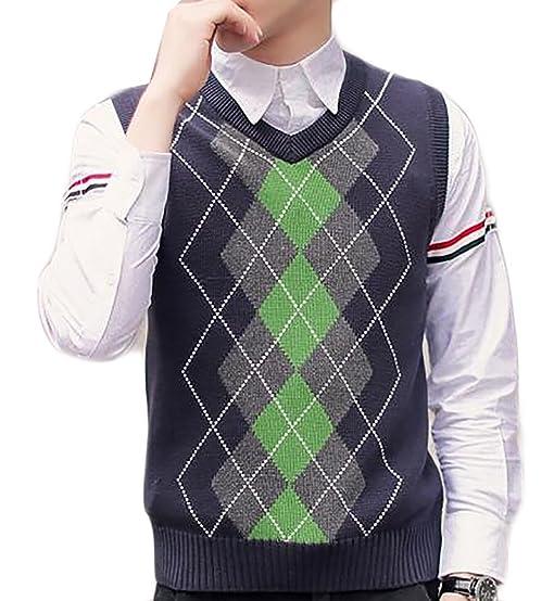 Fulok Mens Slim Knitted Argyle Pattern Casual V-Neck Sweater Vest ...