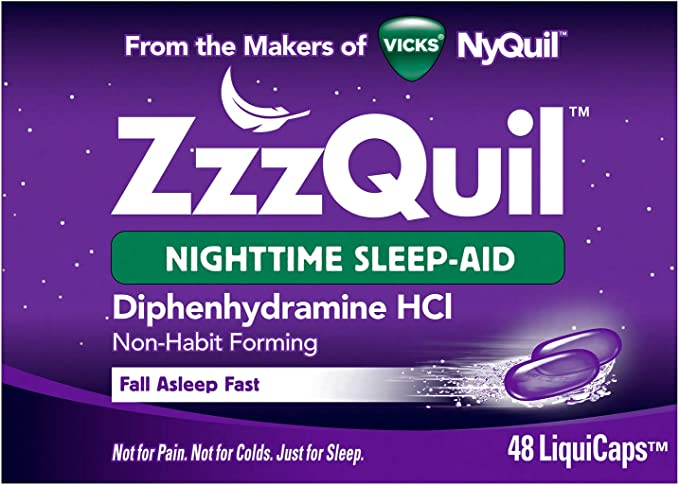 Amazon.com: ZzzQuil, Nighttime Sleep Aid LiquiCaps, 25 mg Diphenhydramine HCl, No.1 Sleep-Aid Brand, Non-Habit Forming, Wake Refreshed, 48 LiquiCaps: Health & Personal Care