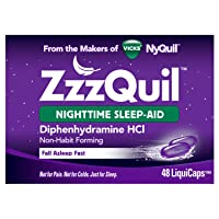 ZzzQuil, Nighttime Sleep Aid LiquiCaps, 25 mg Diphenhydramine HCl, No.1 Sleep-Aid Brand, Non-Habit Forming, Wake Refreshed, 48 LiquiCaps