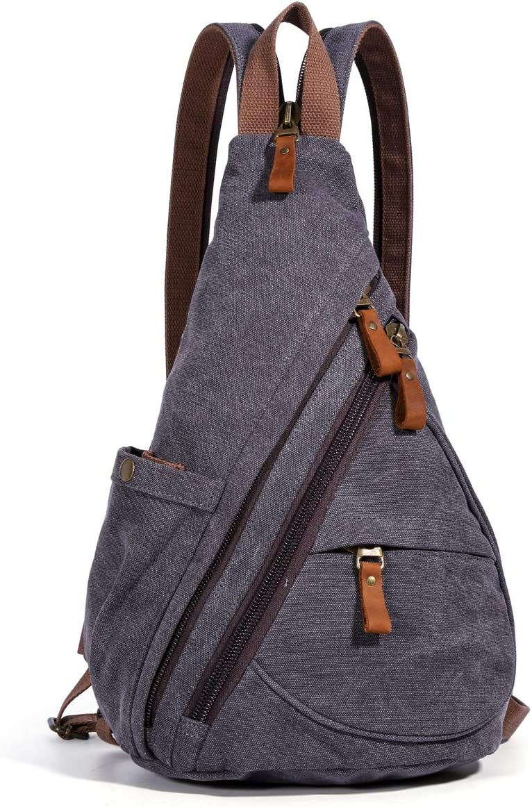 Canvas Sling Bag – Small Crossbody Backpack Shoulder Casual Daypack Rucksack for Men Women Outdoor Cycling Hiking Travel 6881-D.Grey